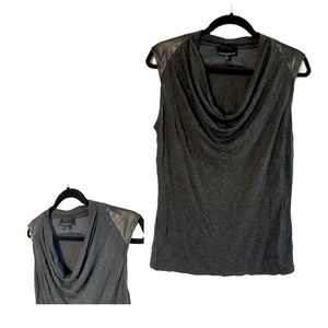 Cynthia Rowley Sleeveless Faux Leather Top Large